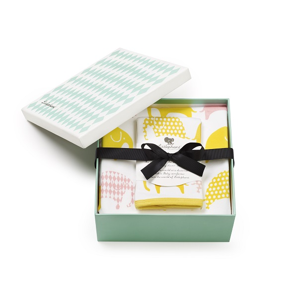 Littlephant(リトルファント )ブランケット&タオルセットElephant - White/yellow/pink