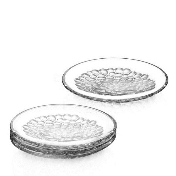 【Orrefors】オレフォス PEARL プレート(S)4枚セット/ デザートプレート ケーキプレート 北欧食器 ガラス シンプル ギフト 普段使い