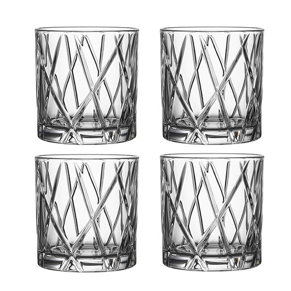 【Orrefors】オレフォス CITY ダブルオールドファッショングラス 4Pセット / ウイスキーグラス タンブラー 北欧グラス シンプル ギフト