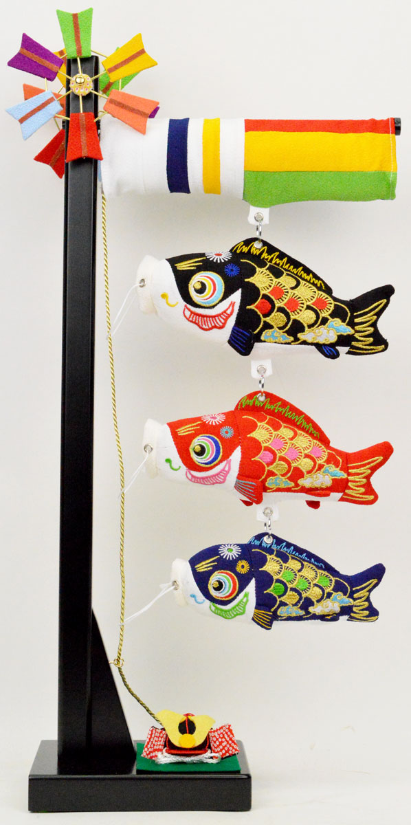 【鯉のぼり】吊るし飾り 室内ちりめん鯉飾り(小)兜付(B)※中サイズは追加料金となります。※兜の色目はそのつど異なります。