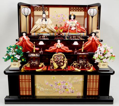 【ひな人形】五人三段飾り【北寿監修】45ST1322B 和風リボン桜※サービス品付き