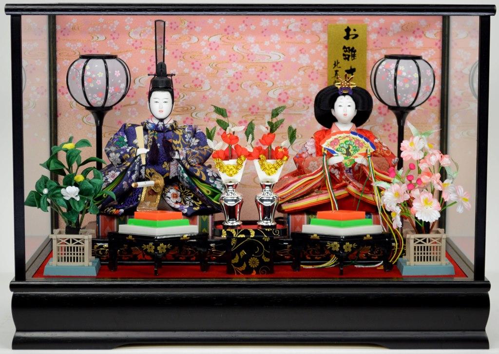 明るい金襴衣装のお人形 ひな人形 親王ケース飾り 売店 北寿監修 143-KT-201※オルゴール付き写真立てと赤いモーセンが付いて華やかに飾れます 激安卸販売新品