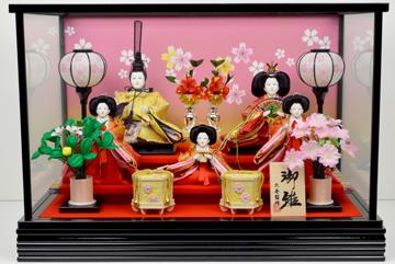 【ひな人形】五人ケース飾り【北寿監修】No.319※オルゴール付き写真立てと赤いモーセン付きで華やかに飾れます!