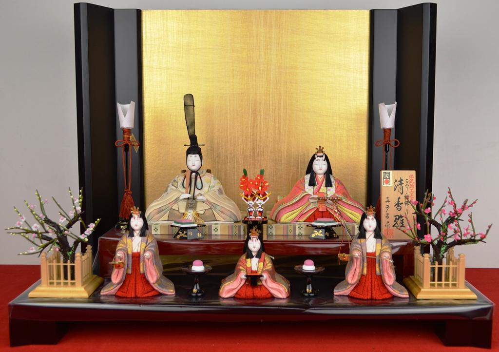 【送料無料】ひな人形【北寿監修】金林真多呂 作木目込み 五人飾り清香雛 官女付