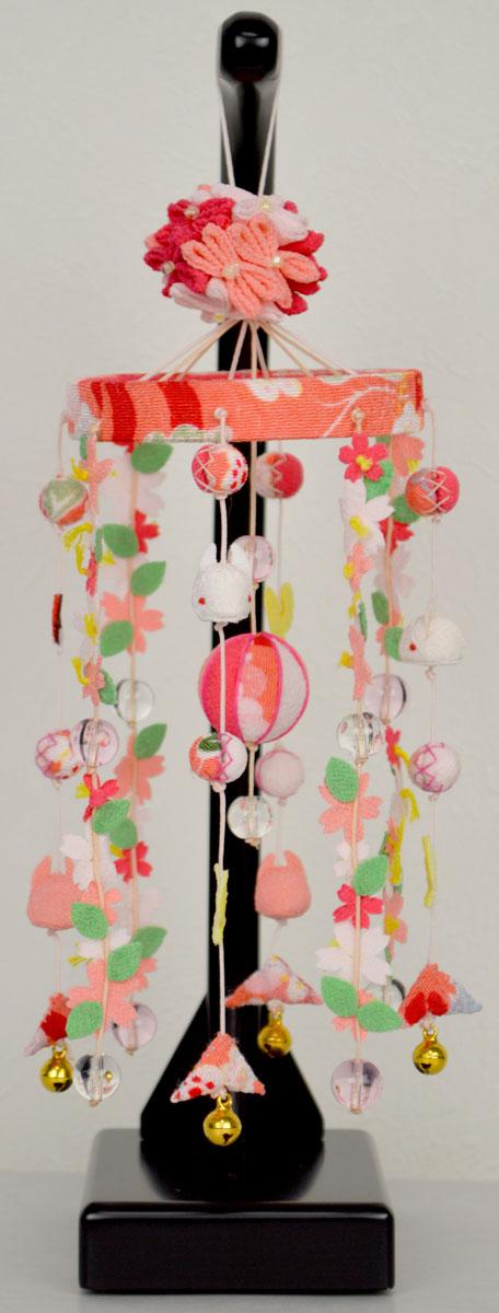 【吊るし飾り】花ひとひら ピンク 台付※手作り品の為、多少の仕様変更がある場合があります。