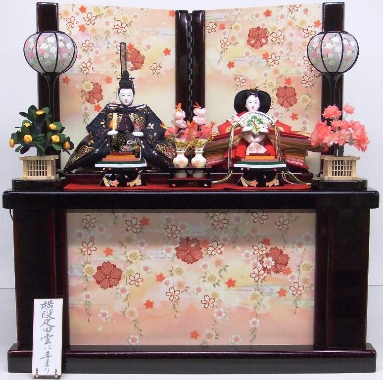 【送料無料】ひな人形【北寿監修】三五親王 収納飾り溜塗 垂れ桜※高級感のある溜塗りの収納飾り台です。