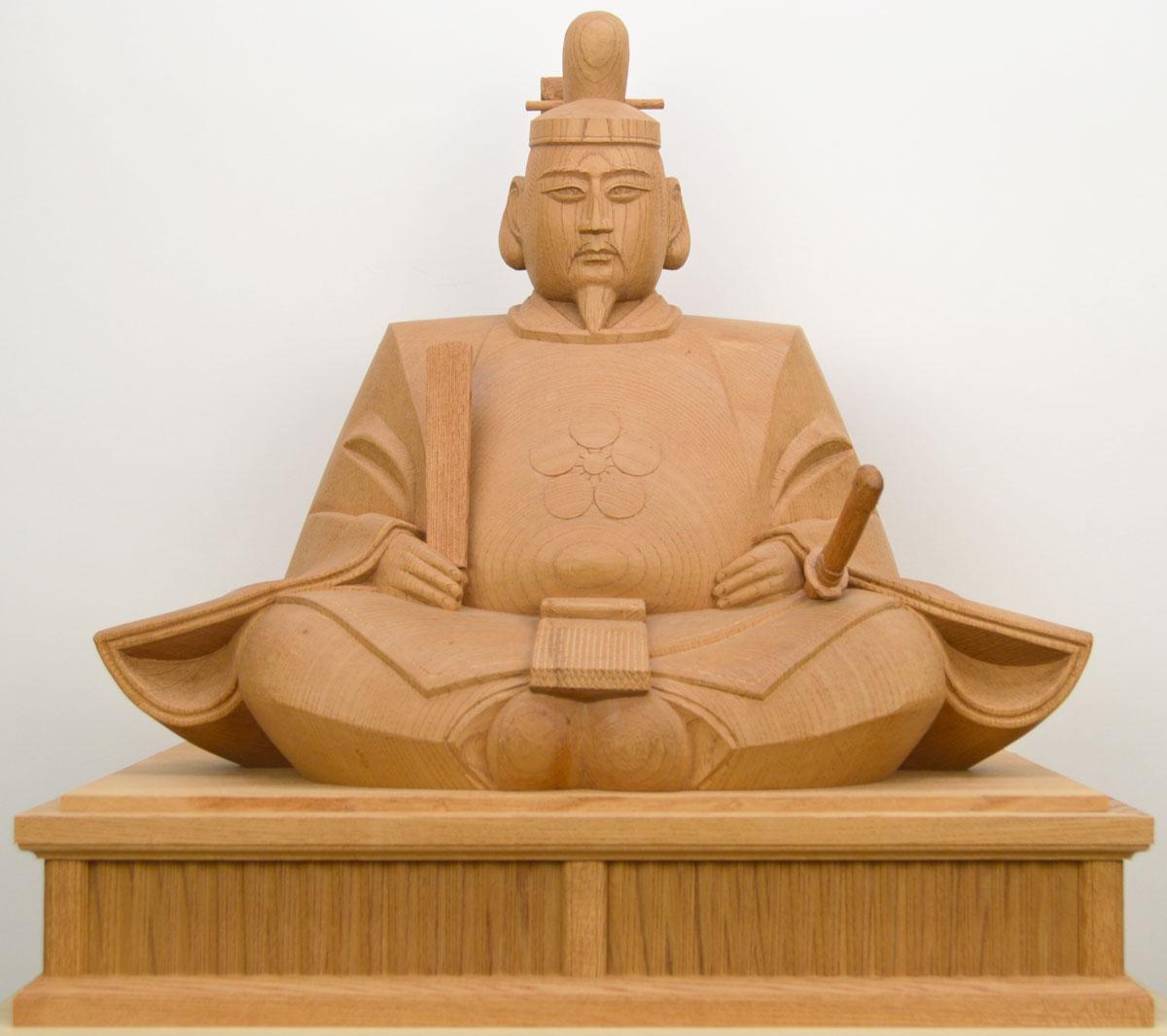 【天神様】井波彫刻『菅原道真公』一尺五寸・欅石井 米児(いしい よねじ)※お道具セット付き