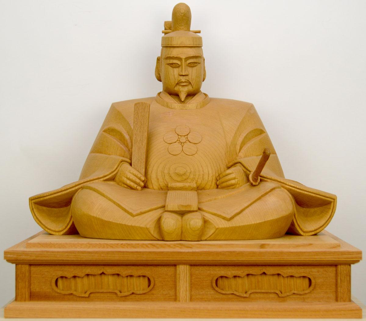 【天神様】井波彫刻『菅原道真公』一尺三寸・欅石井 米児(いしい よねじ)※1点ごとに木目が異なります。