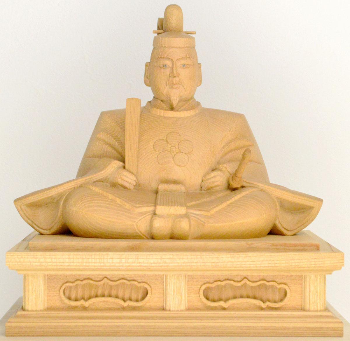 【天神様】井波彫刻『菅原道真公』八寸 欅石井 米児(いしい よねじ)※お道具セット付き※1品ごとに木目が異なります。