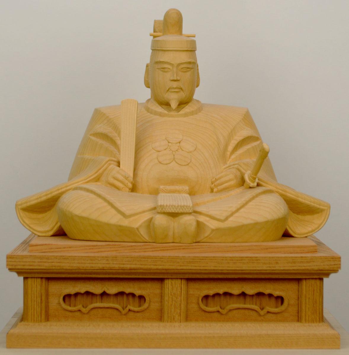【天神様】井波彫刻『菅原道真公』八寸 榧(かや)石井 米児(いしい よねじ)※お道具セット付き※1品ごとに木目が異なります。