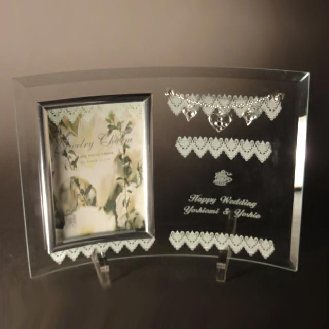 【あす楽対応】 【送料無料】 【名入れ】 ガラスフォトフレーム ジュエリーチャーム 2ウインドー ( 文字入れスペースあり )写真たて名入れ プレゼント 名入れ フォトフレーム 結婚祝い 結婚記念日 プレゼント ギフト 出産祝い 名入れ 父の日