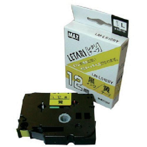 お金を節約 MAX ラベルプリンタ ビーポップミニ 安売り 12mm幅テープ 黄地黒字 LM-L512BY 7147
