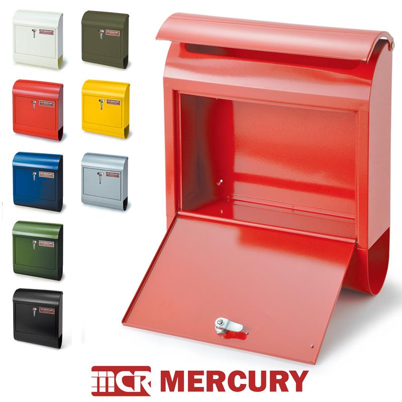 【5色】MARCURY マーキュリー ハンドルロック メールボックス 取手付き / キーロック 鍵付き 2層 カラー 郵便ポストアメリカ クラシック ヴィンテージ 雑貨 ガレージ アイテム 蓋付きポスト 壁掛けポスト 壁面収納 BOX
