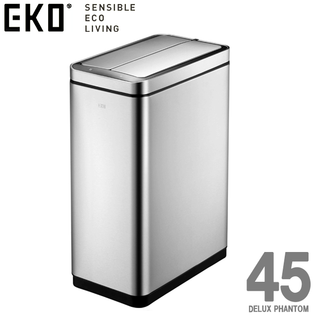 【最新モデル】 EK9287MT-45L // EKO デラックス ファントム 45リットル . DELUX PHANTOM 45L自動開閉 ステンレス製 ゴミ箱 ダストボックス 角型 インテリア デザイン おしゃれ 高級 EKO ゴミ箱 ダストボックス 蓋 センサー