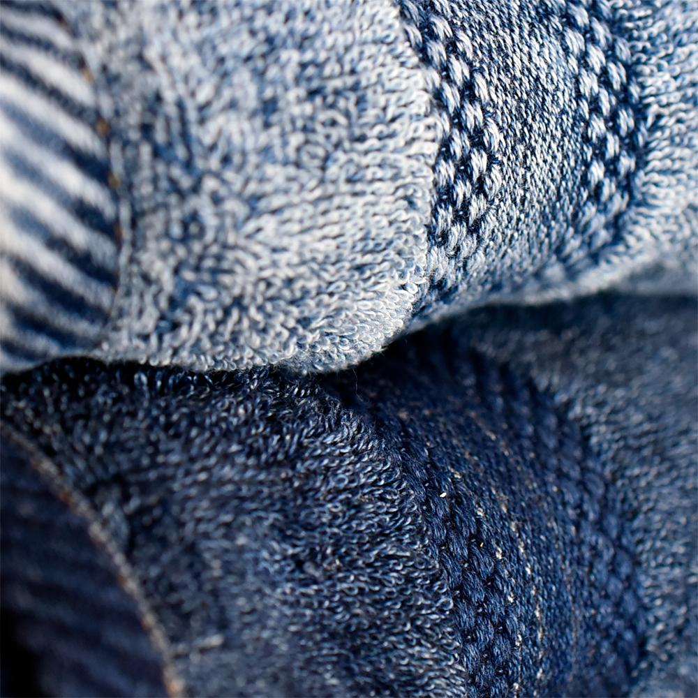 FADE インディゴ染め デニム タオル 25×25cm (ハンカチタオル) 3色 (ノンウォッシュ・ケミカルウォッシュ・ヴィンテージ・インディゴ デニムタオル ブルー 青 藍染め)