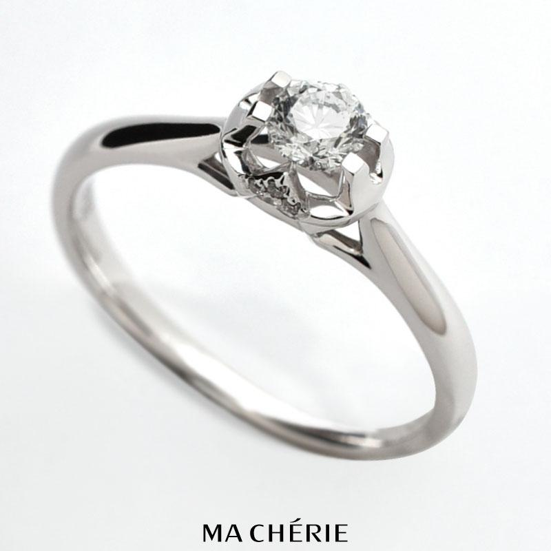 MA CHERIE マシェリ 天然 ダイヤモンド リング 指輪 K18 WG Au750 / 0.243ct / 13号 2.25g 白金 ホワイトゴールド カラット グレード ブリリアント