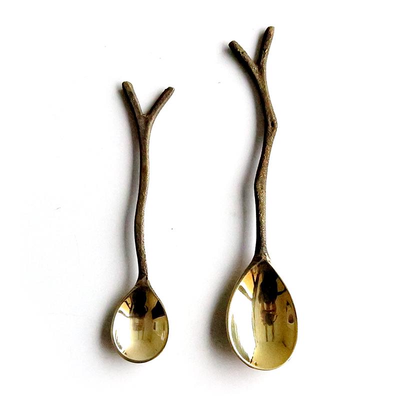 ブラス フォーク&スプーン / 真鍮 フォーク スプーン 木の枝 小枝 カトラリー キッチン雑貨 かわいい おしゃれ カフェ雑貨 アイテム