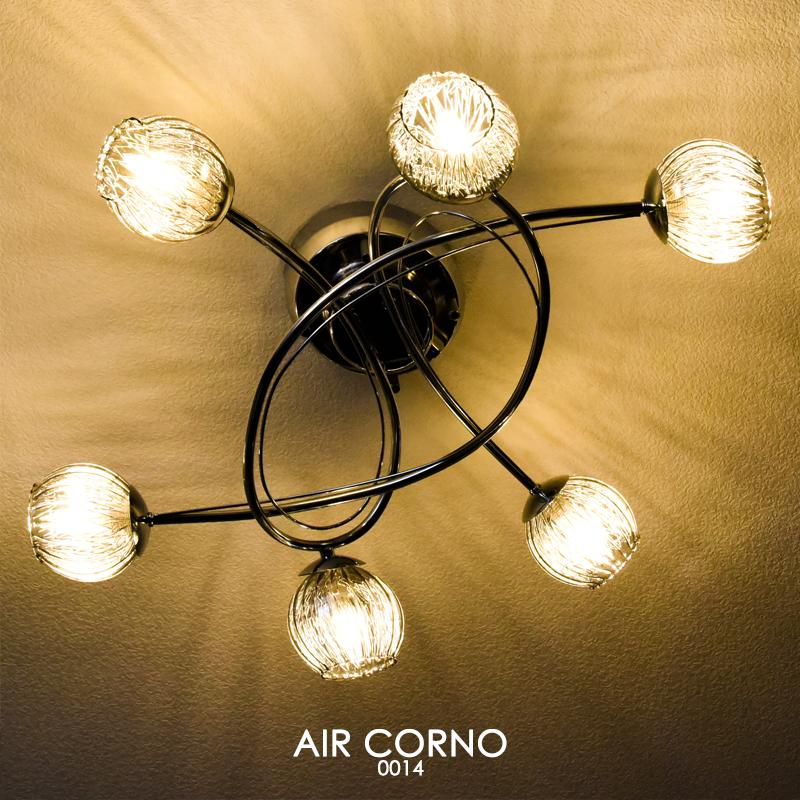 LED シーリングライト スポット 6灯 シャンデリア 硝子 ガラスシェード ハンドメイド 手作り 4~8畳 電球 口金 G9 天井照明 おしゃれ シャンデリア 美しい明かり リビング ダイニング ラウンジ 寝室 照明ライト AIR CORNO エアコルノ 014 aircorno014