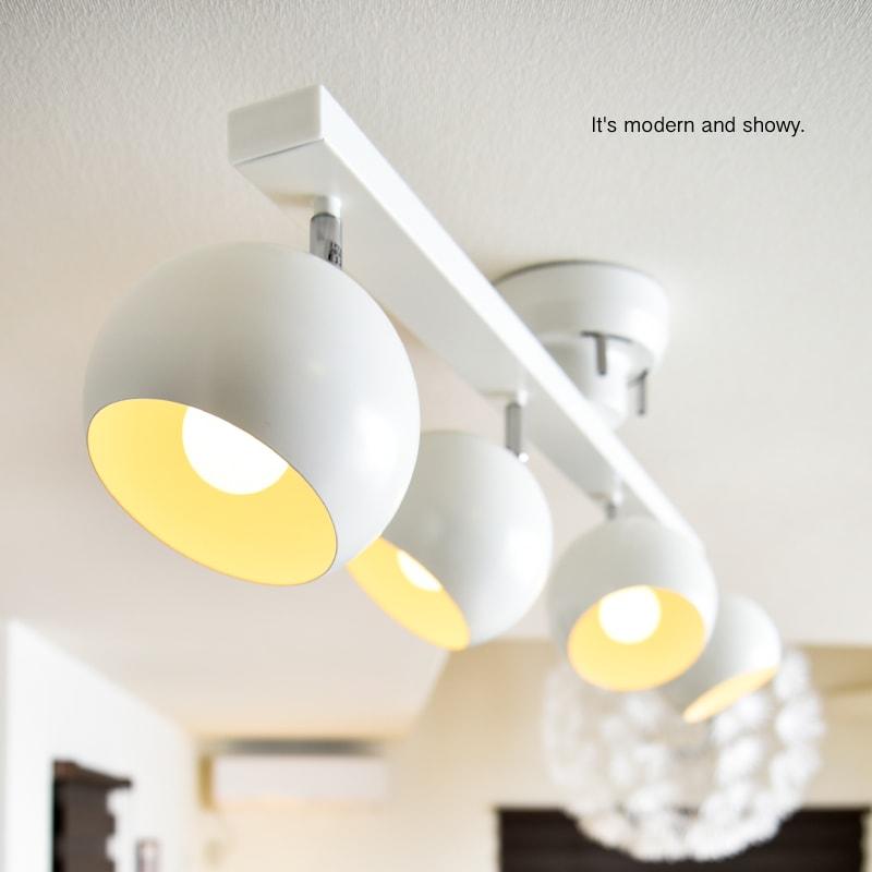 AIRCORNO25 球型 シェード 4灯 LED シーリングライト LED 金口E12球体 北欧 モダン シンプル レトロ デザイン 4畳 6畳 8畳インテリア照明 天井照明 ダイニング 食卓 リビング 居間 寝室