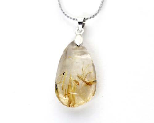 送料無料 天然石 ペンダント パワーストーン ゴールドルチルクォーツ 金針水晶  ゴールドルチル 水晶 アクセサリー