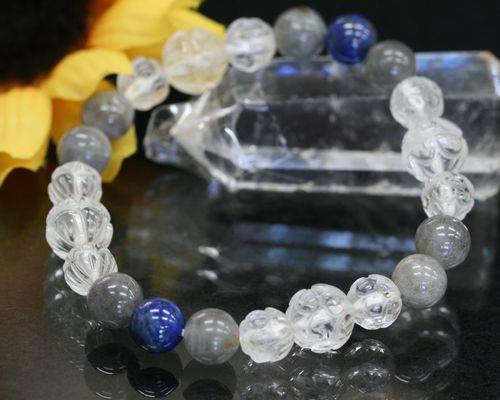 【 送料無料 】 パワーストーンブレスレット ラブラドライト|ラピスラズリ|水晶|ブレス クリスタル パワーストーン|天然石 本水晶 蓮の花 彫り