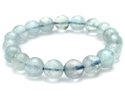 アクアマリン ブレスレット 大玉 10mm 玉 ブレス 天然石 パワーストーン 藍玉 送料無料
