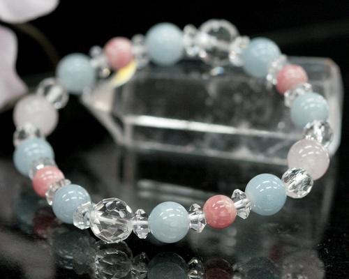 アクアマリン インカローズ ローズクォーツ 水晶 ブレスレット クリスタル 藍玉 本水晶 ブレス 天然石 パワーストーン ロードクロサイト 3月 誕生石 【 メール便 送料無料 】
