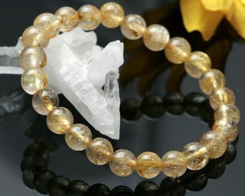 天然石ゴールドルチルクォーツ |ゴールドルチルクォーツ ブレスレット|金針水晶 ブレスレット|ルチルクォーツ|ごーるどタイチンルチルクォーツ ブレスレット|金針水晶|送料無料|