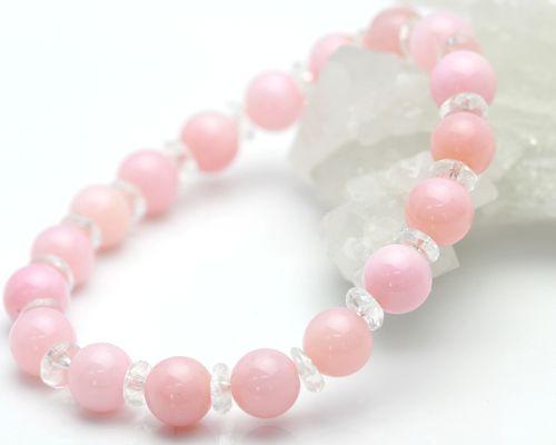 ピンクオパール ブレスレット|ピンクオパール|ピンクオパールブレスレット 天然石|水晶|パワーストーン|ピンクオパール|オパール ブレスレット|誕生石|誕生石 ブレスレット|