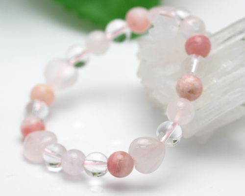 Pink Opal Quartz Crystal Bracelet Rose Design Stone Accessories