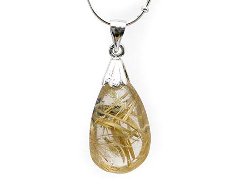 ゴールドルチルクォーツ ペンダント 送料無料 天然石 ペンダント パワーストーン ゴールドルチルクォーツ 金針水晶  ゴールドルチル 水晶 アクセサリー