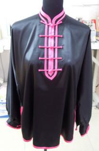 木蘭拳太極拳表演服・黒色ピンク縁前半開木蘭服