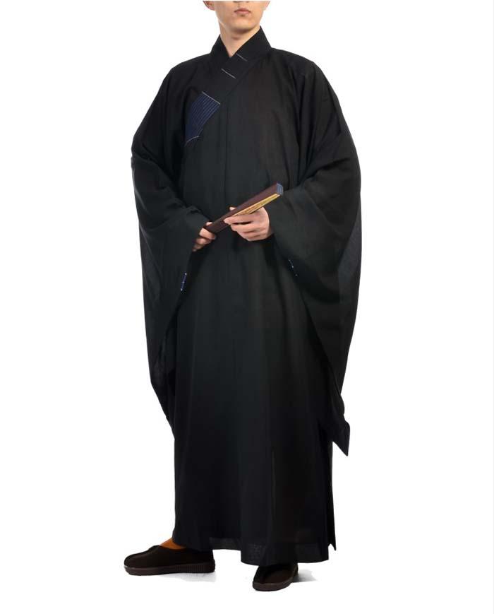 非常に珍しい仏教服!仏教僧服 高級台海青和尚服(黒色)