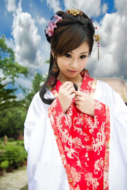 中国伝統の皇帝服(宮廷服) 貴妃服 女性用中華古装(赤色)