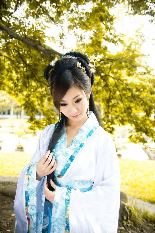 中国伝統の皇帝服(宮廷服) 貴妃服 女性用中華古装(水色)