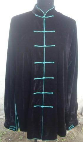 寒い冬に1着は欲しい!生地は厚めで暖かさ抜群!太極拳表演服・黒色緑縁ボタン冬用太極拳服