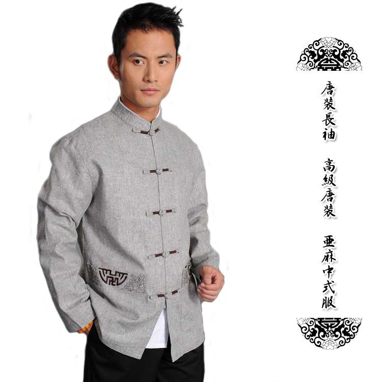 中国の伝統的なカッコイイ唐装上着!唐装長袖 高級唐装 亜麻中式服