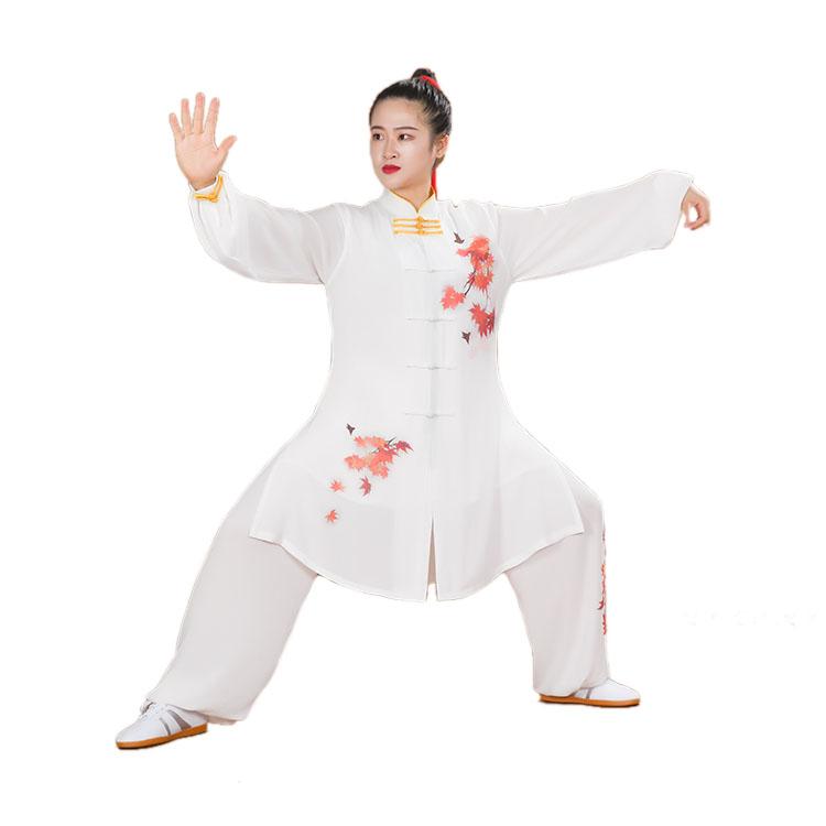 迎春高級糸麻彩絵紅葉太極拳服 新デザイン秋冬美太極拳演武服