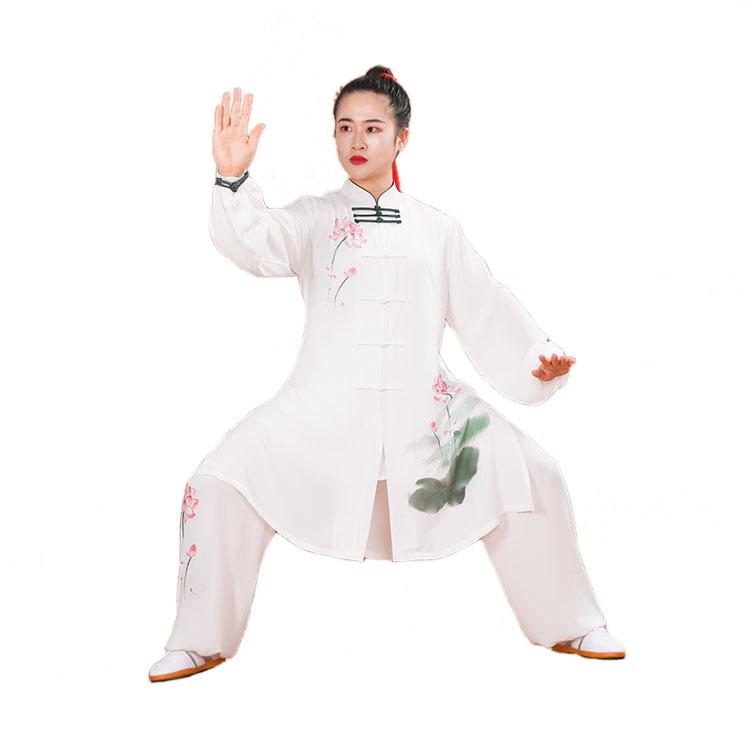 迎春彩絵蓮の花太極拳練功服 新デザイン彩絵蓮花太極拳表演服