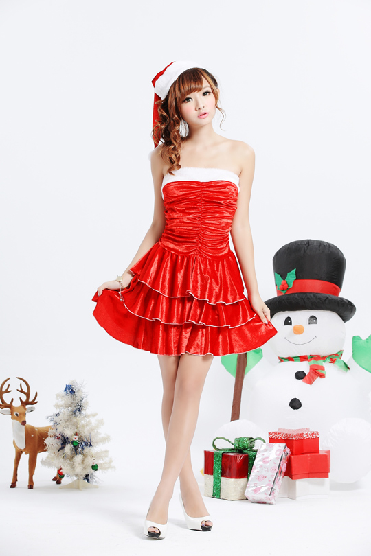 three stage freawampisexy santa costume santa hat and triple flare skirt santa costume is christmas party and party wear tcha and