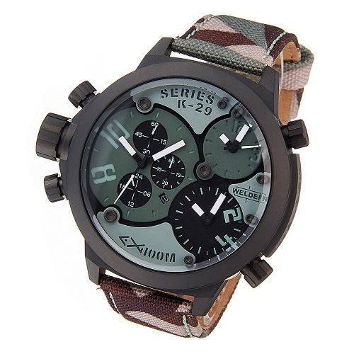 2年保証!WELDER ウェルダー 腕時計 メンズ レディーズ ユニセックス カモフラージュ 迷彩 レザー キャンバス クロノグラフ 3タイムゾーン K29-8004【smtb-m】