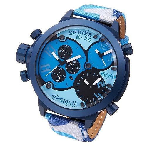 2年保証!WELDER ウェルダー 腕時計 メンズ レディーズ ユニセックス カモフラージュ 迷彩 レザー キャンバス クロノグラフ 3タイムゾーン K29-8006【smtb-m】