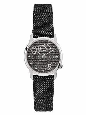 2年保証 Guess ゲス ORIGINALS オリジナル VALLEY ヴァリー バリー 腕時計 レディース V1017M2 ステンレス デニム レザーベルト スナップボタン ブラック 黒 クォーツ 電池式【smtb-m】