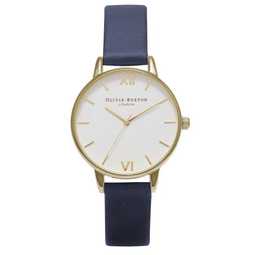 2年保証 新品 送料無料 OLIVIA BURTON オリビアバートン 腕時計 レディース White Dial OB16MDW17 30mm ゴールド Gold ネイビー【smtb-m】