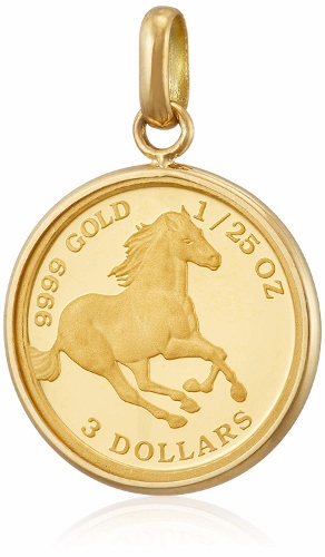 K24 K18 YG ホース 馬 ペンダント トップ 1/25 oz オンス コイン ゴールド 金 金貨 純金 メンズ レディース ユニセックス