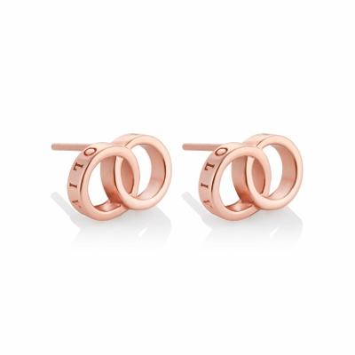 新作 新品 OLIVIA BURTON オリビアバートン ピアス OBJCOE72 The Classics Interlink Earrings Rose Gold 両耳用 2個セット ロゴ ダブル リング モチーフ SV925 シルバー925 K18メッキ ローズゴールド