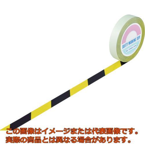 緑十字 ガードテープ(ラインテープ) 黄/黒(トラ柄) 25mm幅×100m 148022