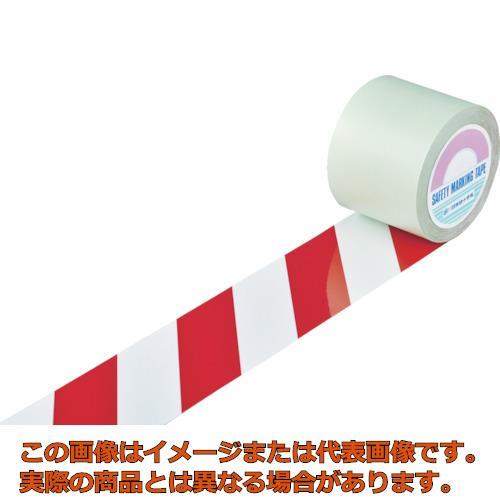 緑十字 ガードテープ(ラインテープ) 白/赤(トラ柄) 100mm幅×100m 148143