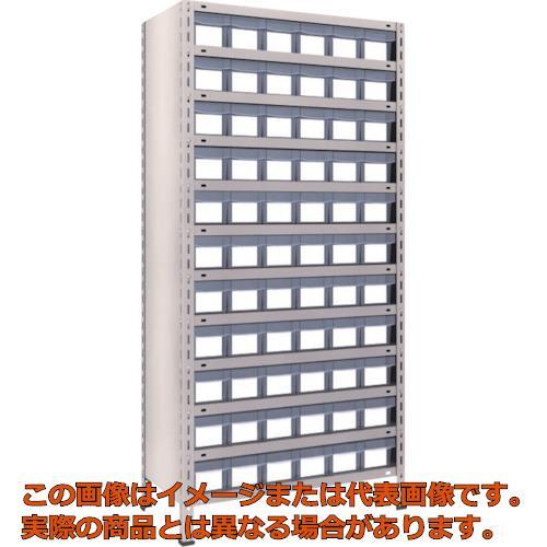TRUSCO 軽量棚 875X450X1800 樹脂引出透明 小X66 ネオグレー 63X812C11 NG
