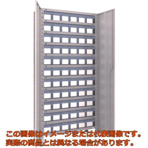TRUSCO 軽量棚扉付 875X300X1800樹脂引出透明小X66 ネオグレー 63VT812C11 NG
